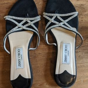 Jimmy Choo Black Satin flat thong sandals